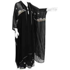 1972 Janice Wainwright Black Chiffon Novelty Sun & Rain Embroidery Caftan Dress
