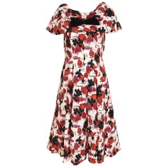 1950s Red and Black floral print cotton dress