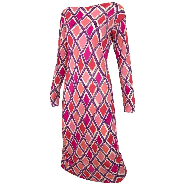 1960s PUCCI Pink and Puple Geometric Diamond Shape Print Jersey Dress
