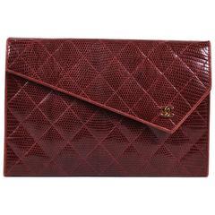 Vintage Chanel Red Lizard Asymmetric Flap Chain Link Strap Shoulder Bag