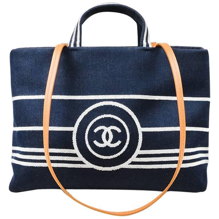 Chanel Dark Blue White Denim 'CC' Striped Shoulder Tote Bag 1