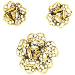 Chanel '70s Vintage 2pc Strass Crystal Camelllia Brooch Pin & Earring Set