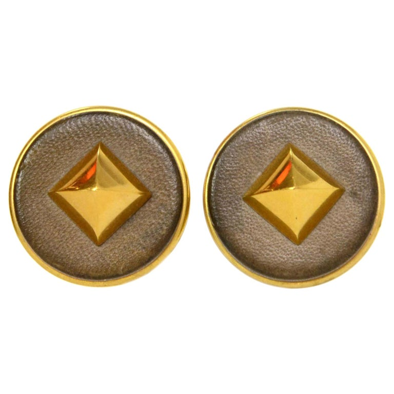 Hermes Gold & Leather Medor Clip On Earrings For Sale