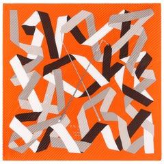"HERMES c.2007 Cyrille Daitkane & Sandy Queudrus ""En Duo"" Pleated Silk Scarf"