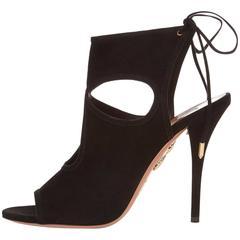 Aquazzura Black Suede Cut Out Evening Sandals Heels