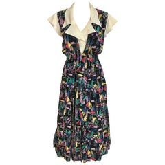 1970s CHLOE Abstract Print Multi Color Print Silk  Dress