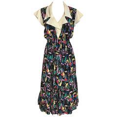 1970s CHLOE Abstract Print Multi Color Print Silk  Dress