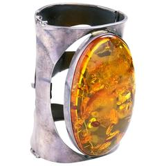 Huge Natural Baltic Amber Sterling Cuff