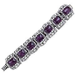 Moans Huge Rhinestone and Faux Gem Link Bracelet