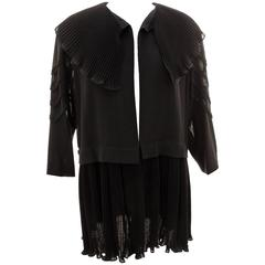 Romantic Jean Muir Black Jacket with Micro Pleated Collar & Soutache Sleeves M