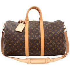 Louis Vuitton Keepall 45 Bandouliere Monogram Canvas Duffle Travel Bag + Strap