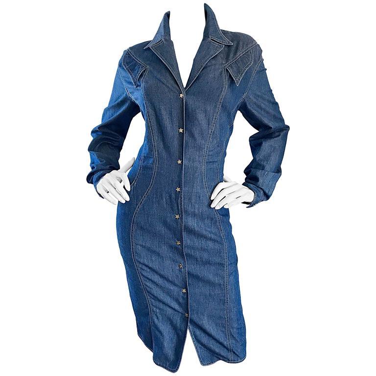 Vintage Thierry Mugler Denim Blue Jean 1990s Avant Garde Bodycon 90s Dress