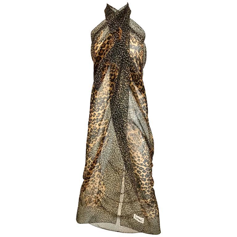 1980s Yves Saint Laurent Leopard Print Large Silk Scarf