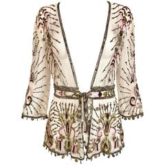 Roberto Cavalli Pale Pink Sheer Mesh Embroidered Beaded Cardigan Jacket