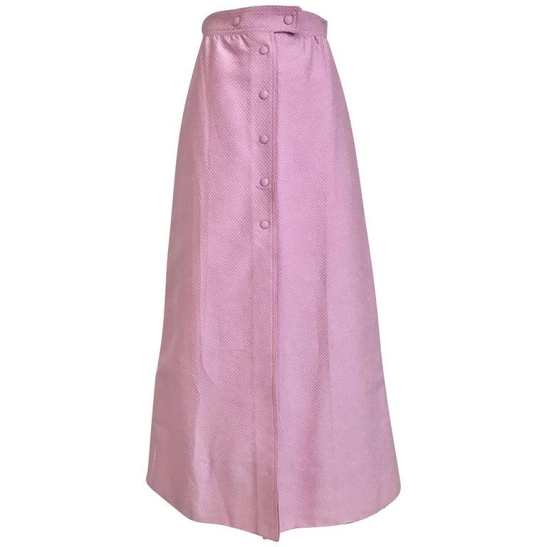 1970s Courrege Pink A Line Maxi Cotton Skirt For Sale