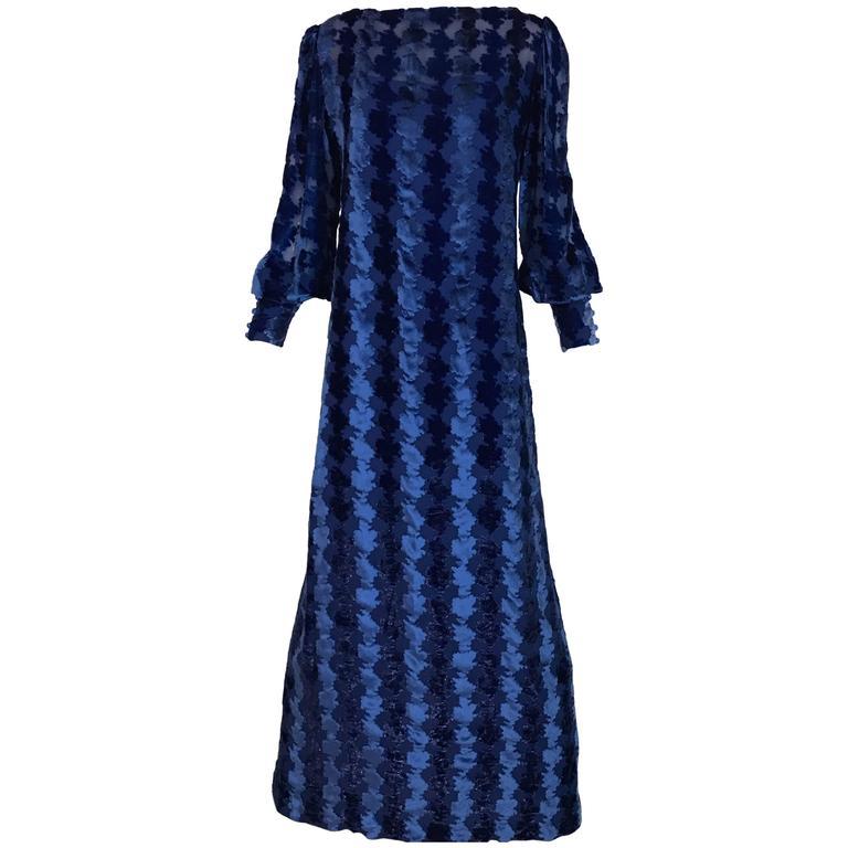 1970s Richilene Vintage Blue Velvet Devore Long Sleeve  Maxi Dress