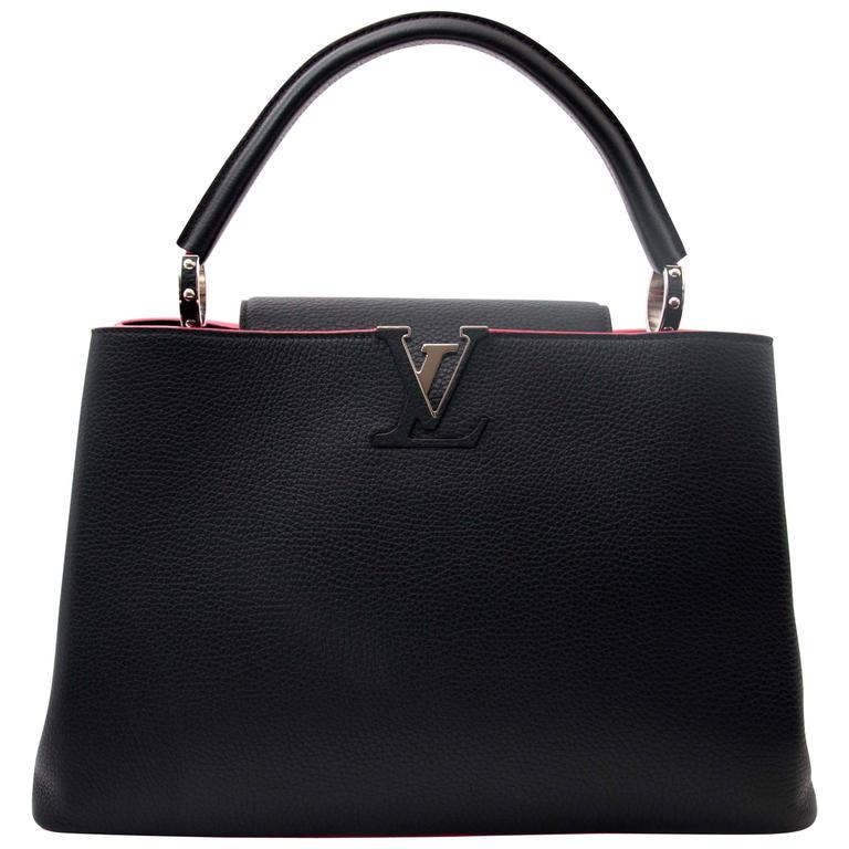 ca437918ffa9 Louis Vuitton Black Capucines MM Taurillon Pink Lining at 1stdibs