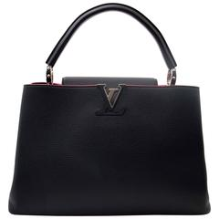 Louis Vuitton Black Capucines MM Taurillon Pink Lining