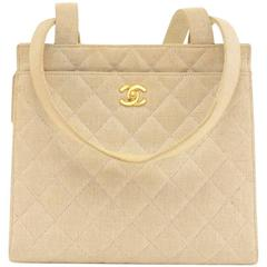 Chanel Beige Quilted Canvas Tote Shoulder Hand Bag