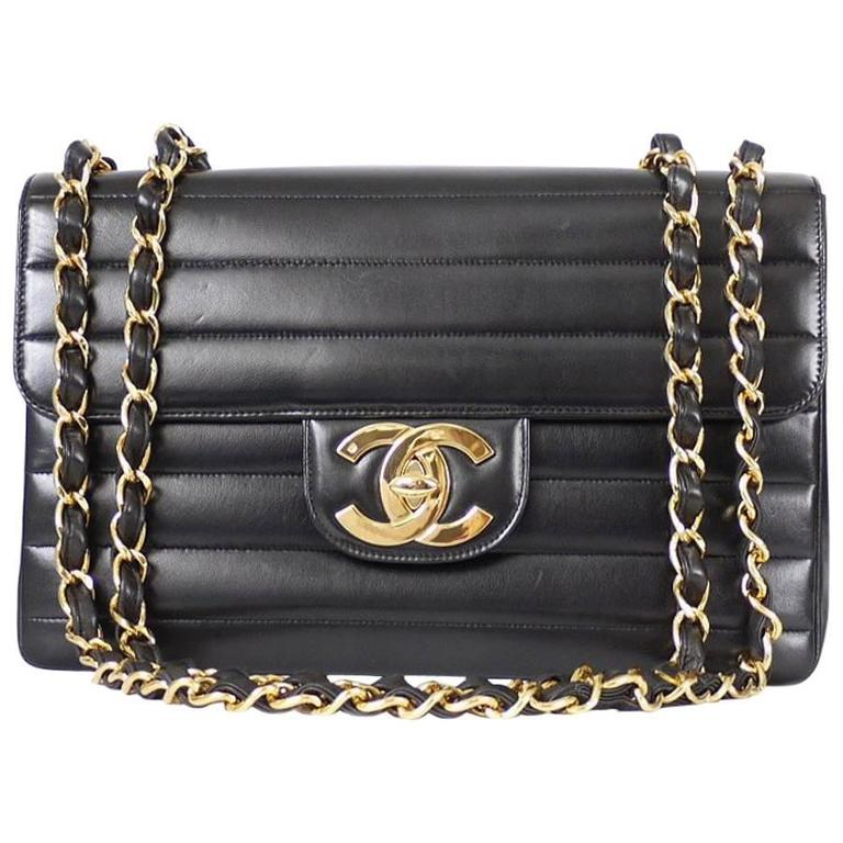 Chanel Black Lamb Skin Jumbo Classic Flap Bag Rare For Sale