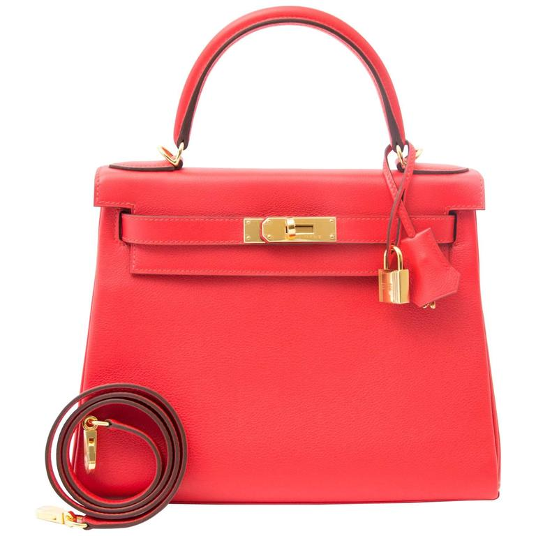 Hermes Kelly 28 Capucine Evercolor For Sale