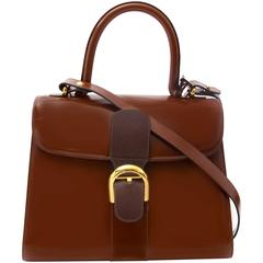Delvaux Brillant MM Bicolor Dark Brown - Marron + strap