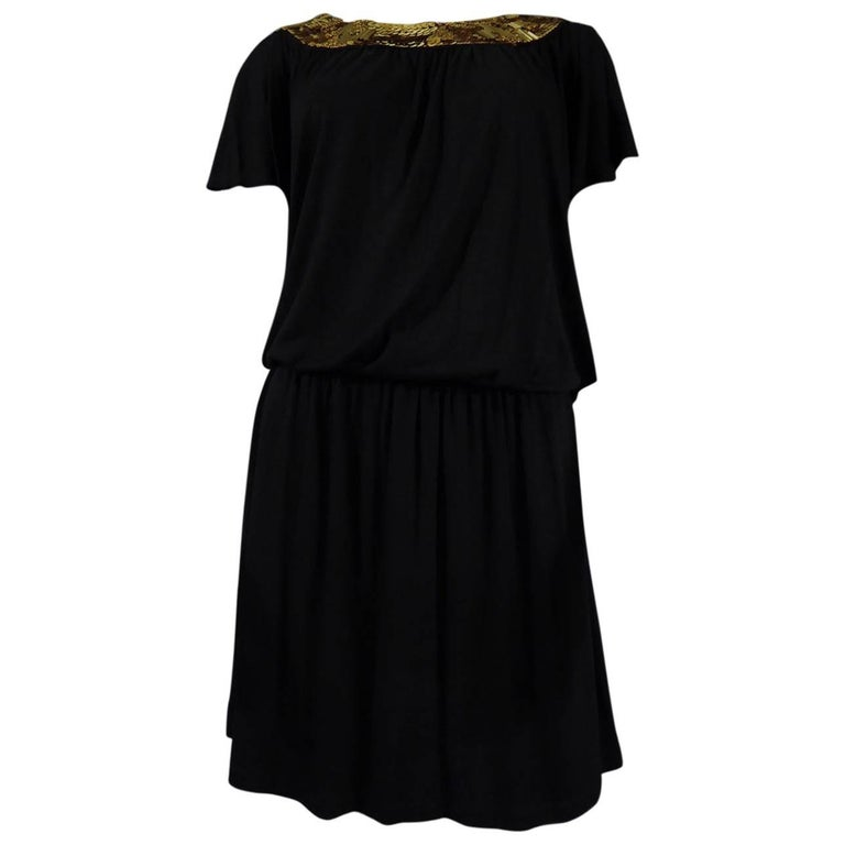 Biba black mini Dress, Circa 1970 For Sale