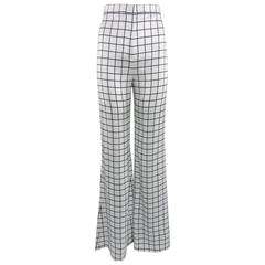 BALMAIN spring 2015 Runway Black and White Satin Grid Pants