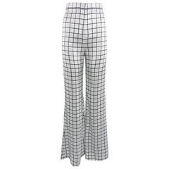 BALMAIN spring 2015 Runway Black and White Satin Grid Pants