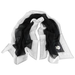 CHANEL sheer black and white silk scarf with Camelia