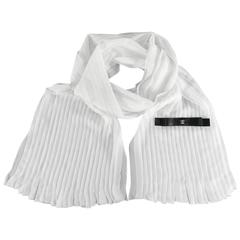 CHANEL sheer white silk pleated long scarf with Black satin Bow
