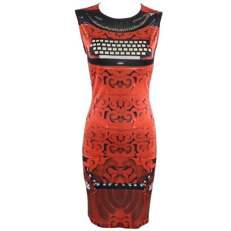 Mary Katrantzou Silk Jersey Typewriter Dress For Sale