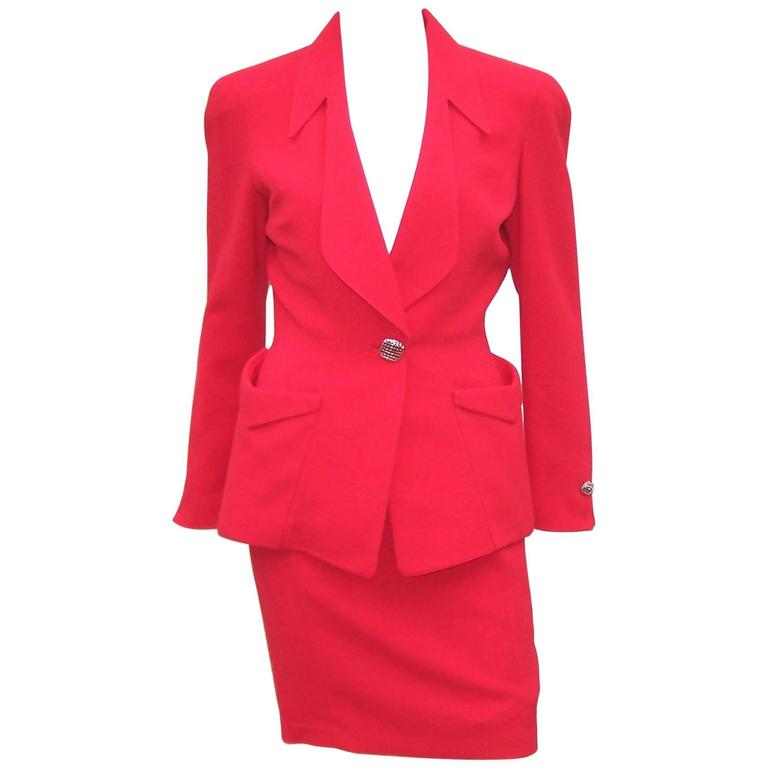 1980's Thierry Mugler Lipstick Red Suit With Silver Buttons