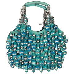 CHLOE Turquoise Canvas Beaded BRACELET BAG