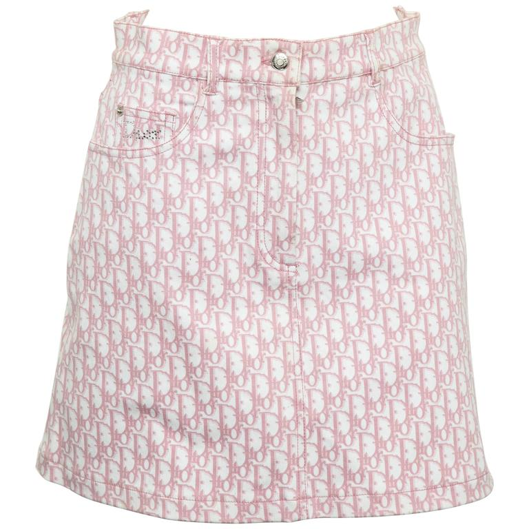 John Galliano for Christian Dior Pink Trotter Logo Skirt