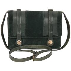 GUCCI VINTAGE Green Suede & Leather CROSSBODY BAG