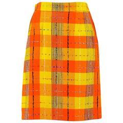 Vintage Christian Lacroix Yellow Orange Woolen Checkered Pencil Skirt SZ 40