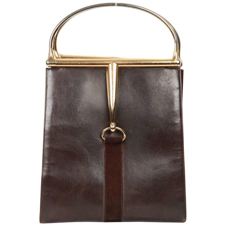 e5ebbd493 GUCCI Vintage Brown Leather HORSEBIT HANDLES TOTE Bag For Sale at ...