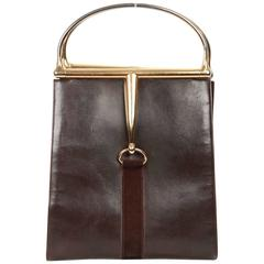 GUCCI Vintage Brown Leather HORSEBIT HANDLES TOTE Bag
