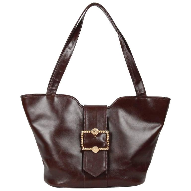 ROBERTA DI CAMERINO Brown Leather TOTE Shoulder Bag For Sale