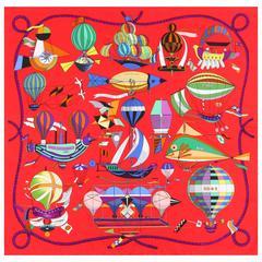 "HERMES S/S 2009 Loic Dubigeon ""Les Folies Du Ciel"" Red Flying Machine Silk Scarf"