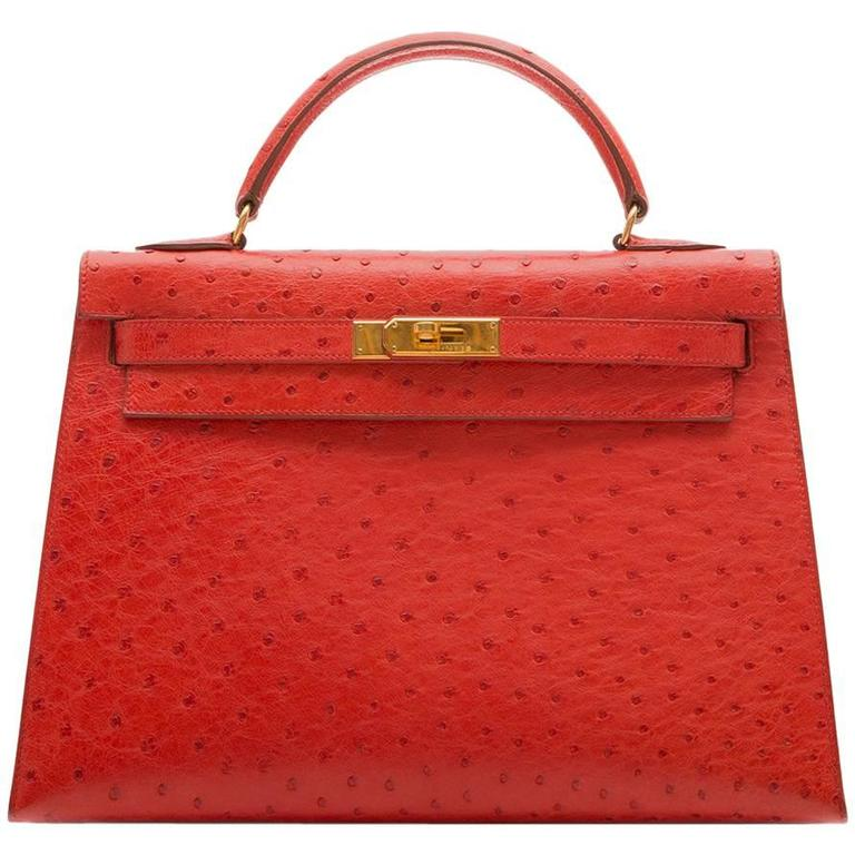 Hermès Vintage ​Rouge Vif 32cm Kelly in Ostrich Leather For Sale