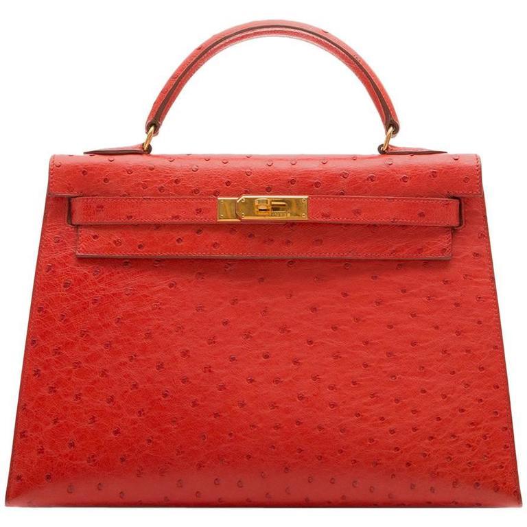 Hermès Vintage Rouge Vif 32cm Kelly in Ostrich Leather