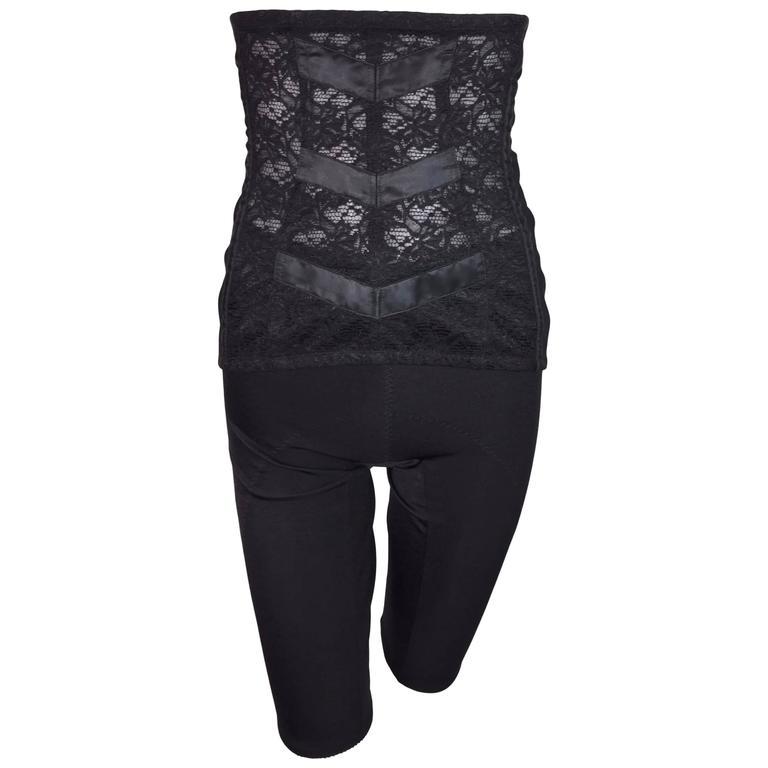 S/S 1998 Dolce & Gabbana Black Bandage Capri Short Pants & Lace Corset Cincher