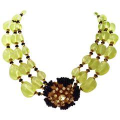 Miriam Haskell Vaseline Glass Bead Three-Strand Choker Necklace
