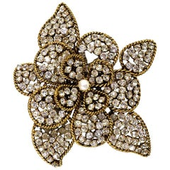 Chanel Vintage '80s Pave Crystal Flower Brooch Pin/Pendant
