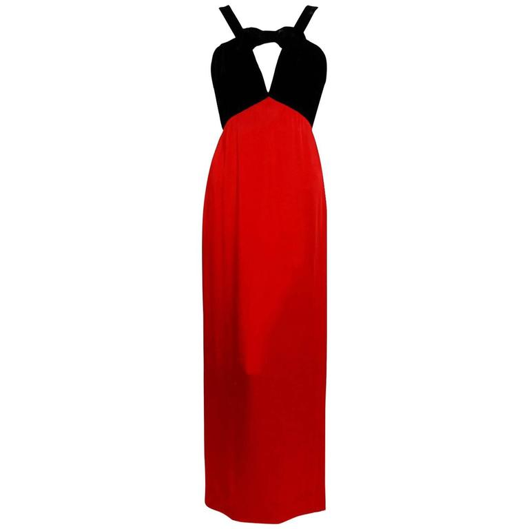 1994 Yves Saint Laurent Documented Red Silk & Black Velvet Cut-Out Plunge Gown