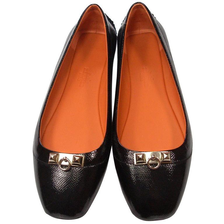 7e74f62dfc4f Hermes Black Patent Epsom Leather Liberty Flats Size Europe 38   BRAND NEW  For Sale