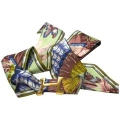 "HERMES "" Brazil "" Twilly Scarf Ribbon & H buckle / VERY CUTE"