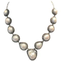 """Sterling Silver Freshwater Pearl & """"Black"""" Diamond Crystal Necklace"""